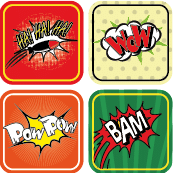étiquettes thermocollantes enfants comics
